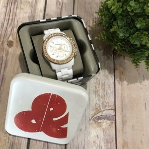 Fossil | EUC White Rose Gold Large Face Watch